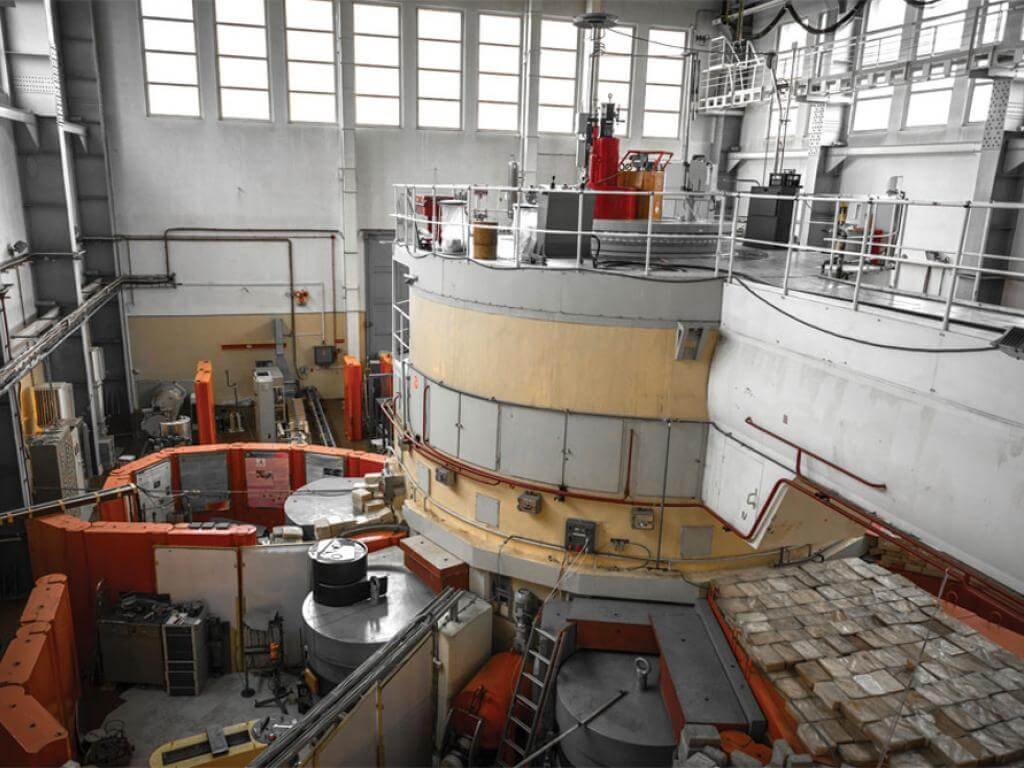 A high viewpoint over equipment in a nuclear power plant