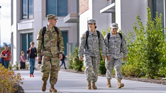 Military students walking on ODU's campus