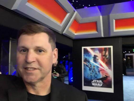 Man smiling at Star Wars Premiere